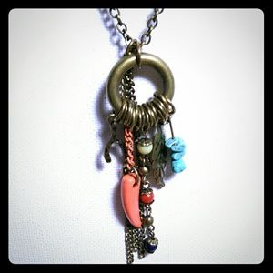 BOHO Long Necklace Charms Faux Coral Turquoise